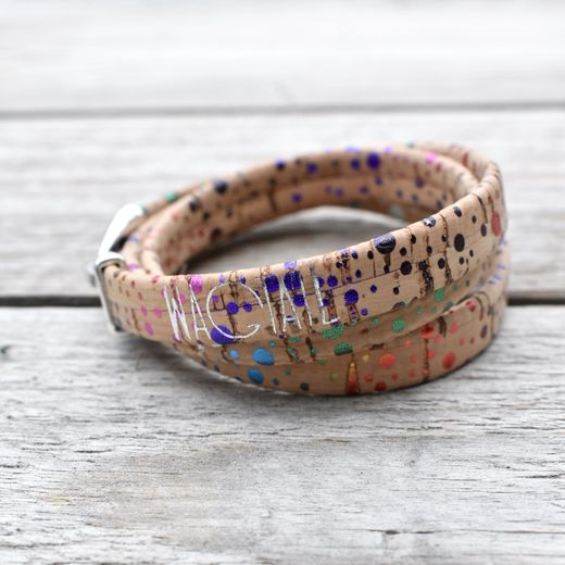 Reed Disco Rainbow Cork Wrap Bracelet
